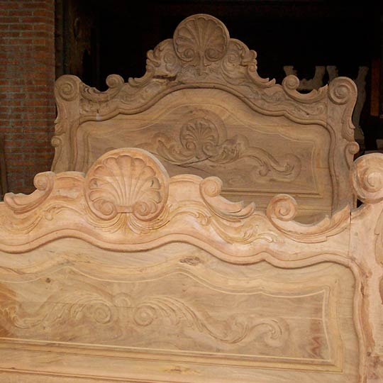Hand Carved Custom Mesquite Bed - unfinished